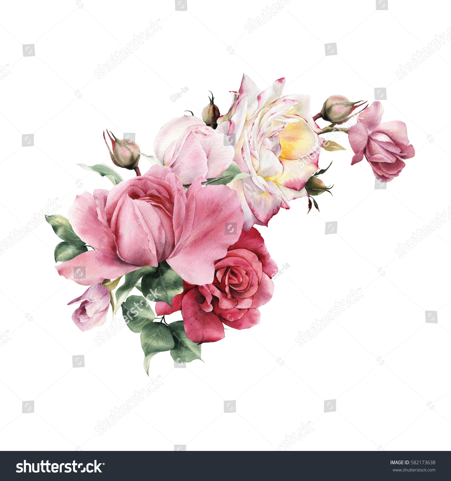 Similar images stock photos vectors of bouquet roses watercolor bouquet of roses watercolor can be used as greeting card invitation card for izmirmasajfo