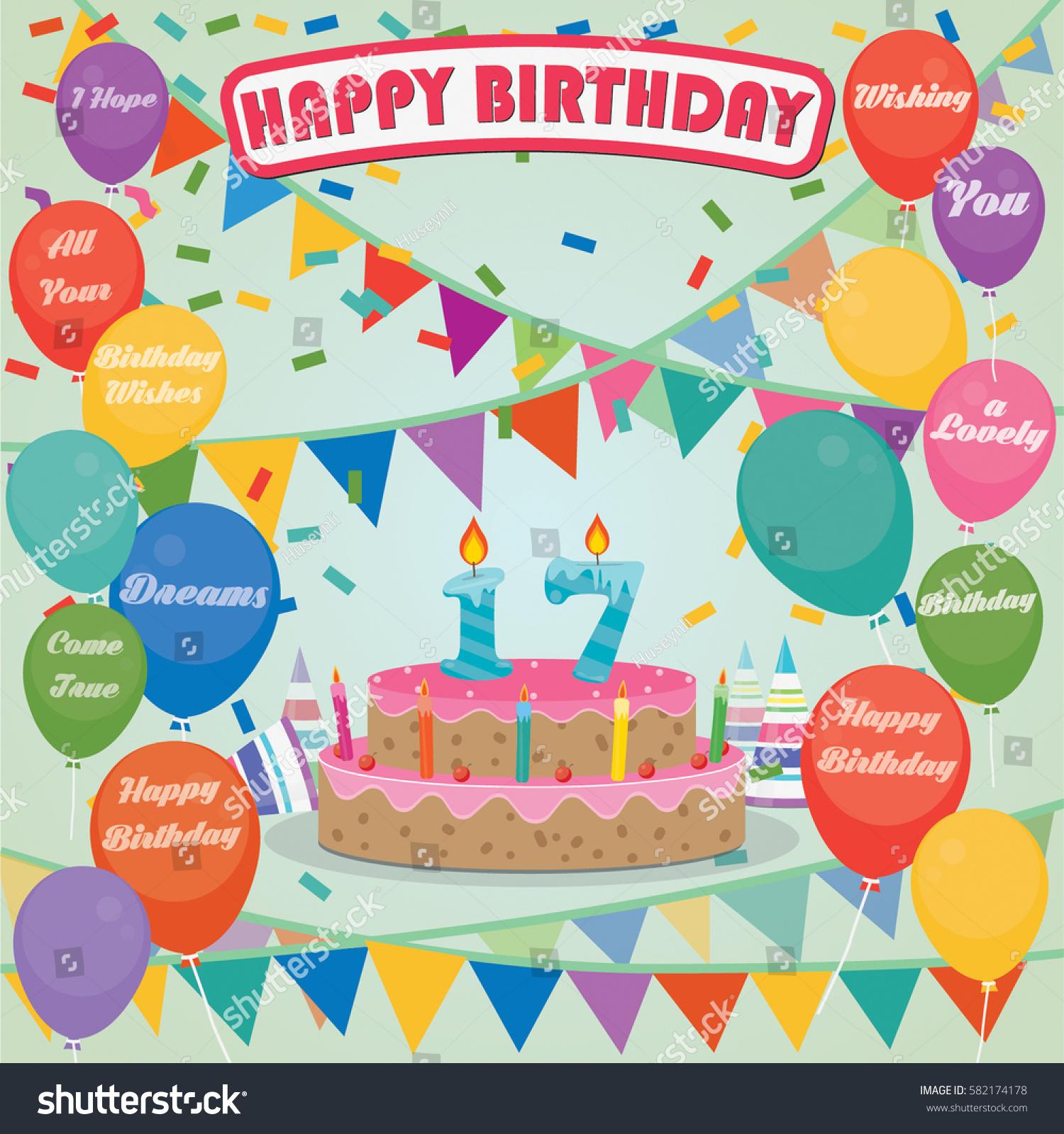 Astounding 17Th Birthday Cake Decoration Background Flat Stock Vector Birthday Cards Printable Riciscafe Filternl