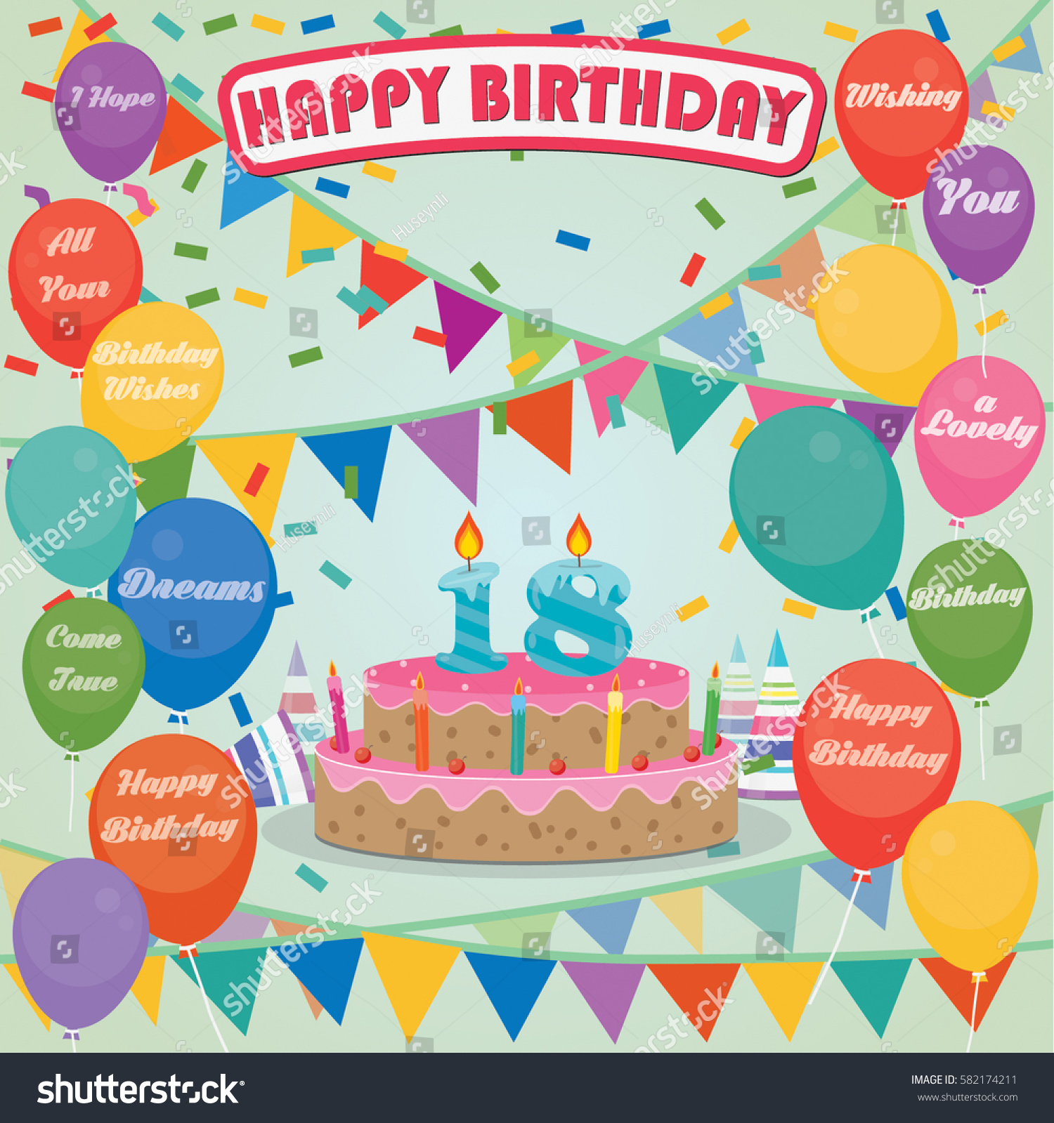 18th Birthday Cake And Decoration Background In Flat Design With Balloons Candles
