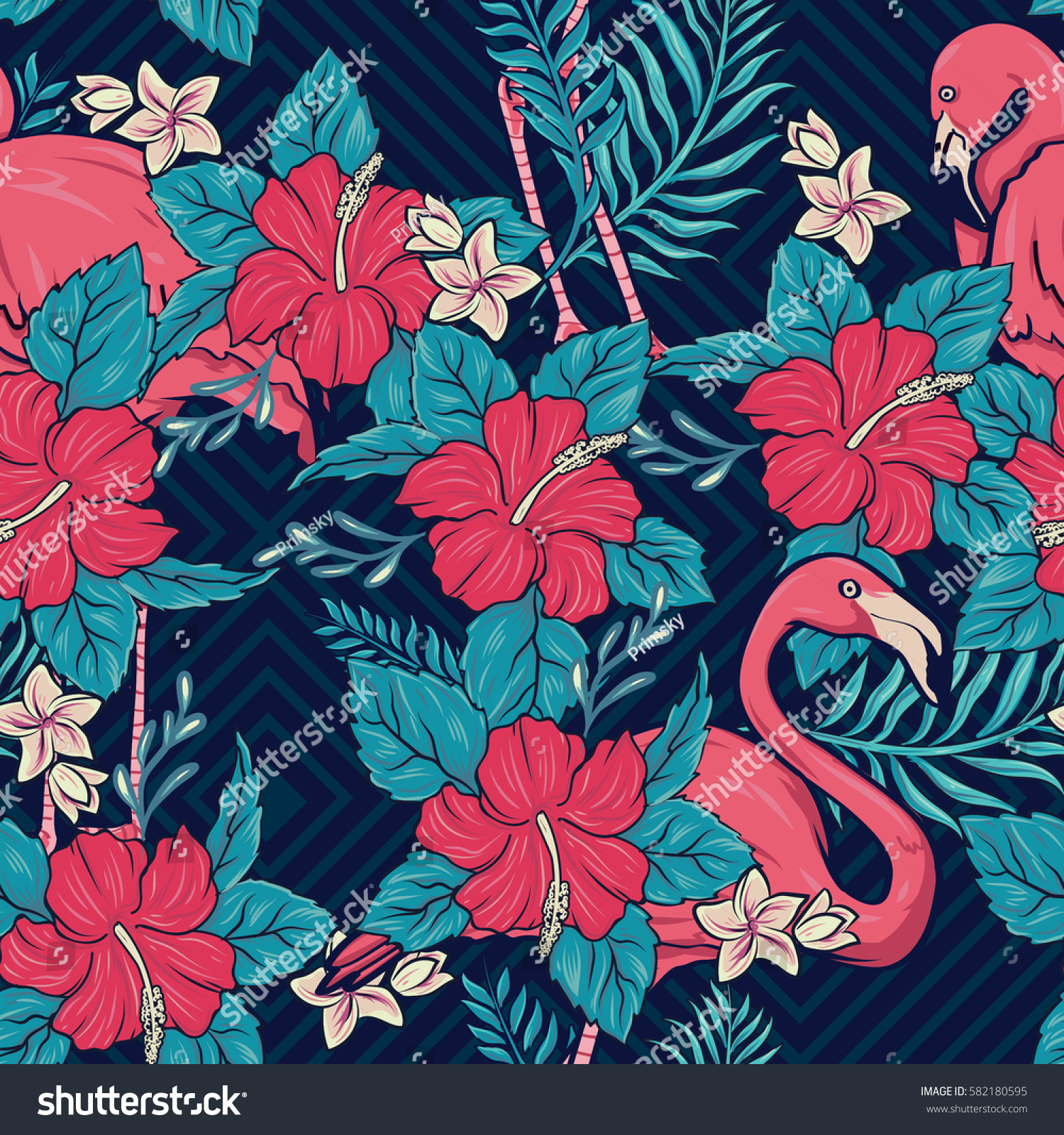 Hawaiian Floral Flamingos Seamless Pattern Background Stock Image
