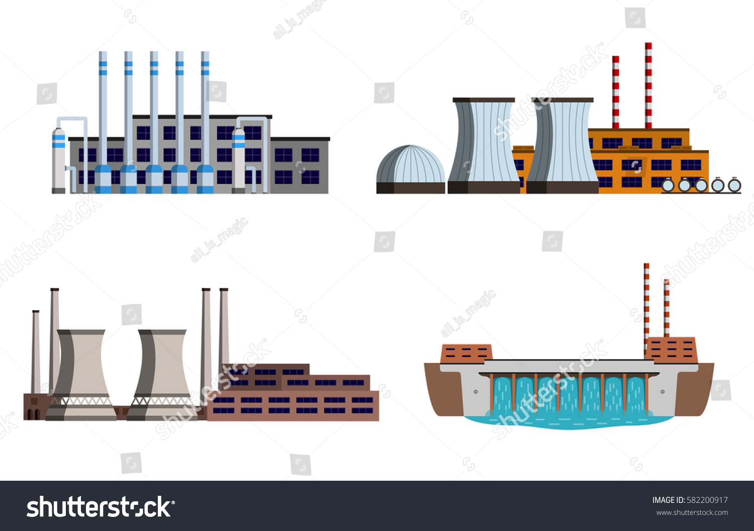 Set Energy Station Gas Nuclear Stock Vector Royalty Free Power Plant Diagram Pictures Of Hydro