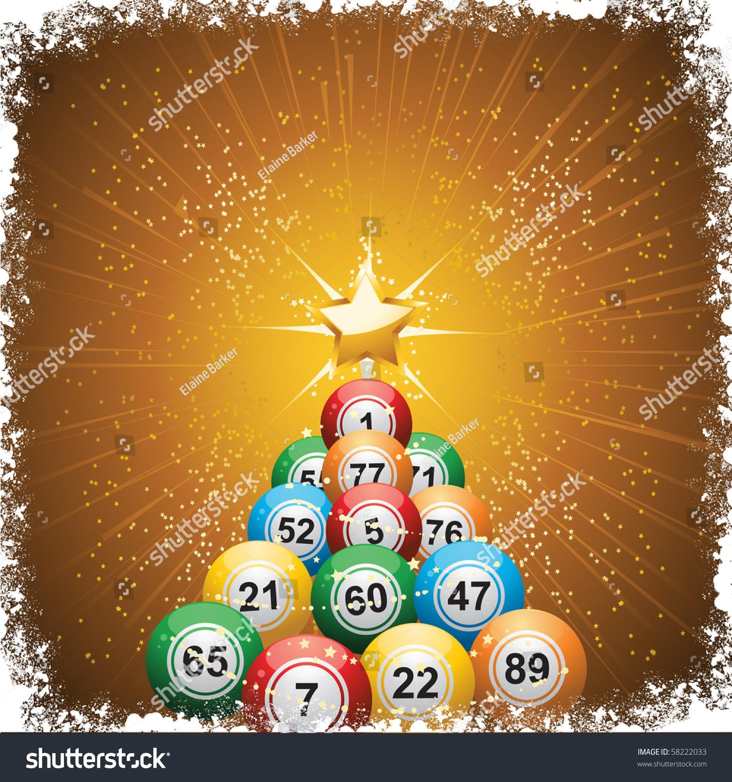 bingo lottery ball christmas theme background stock vector