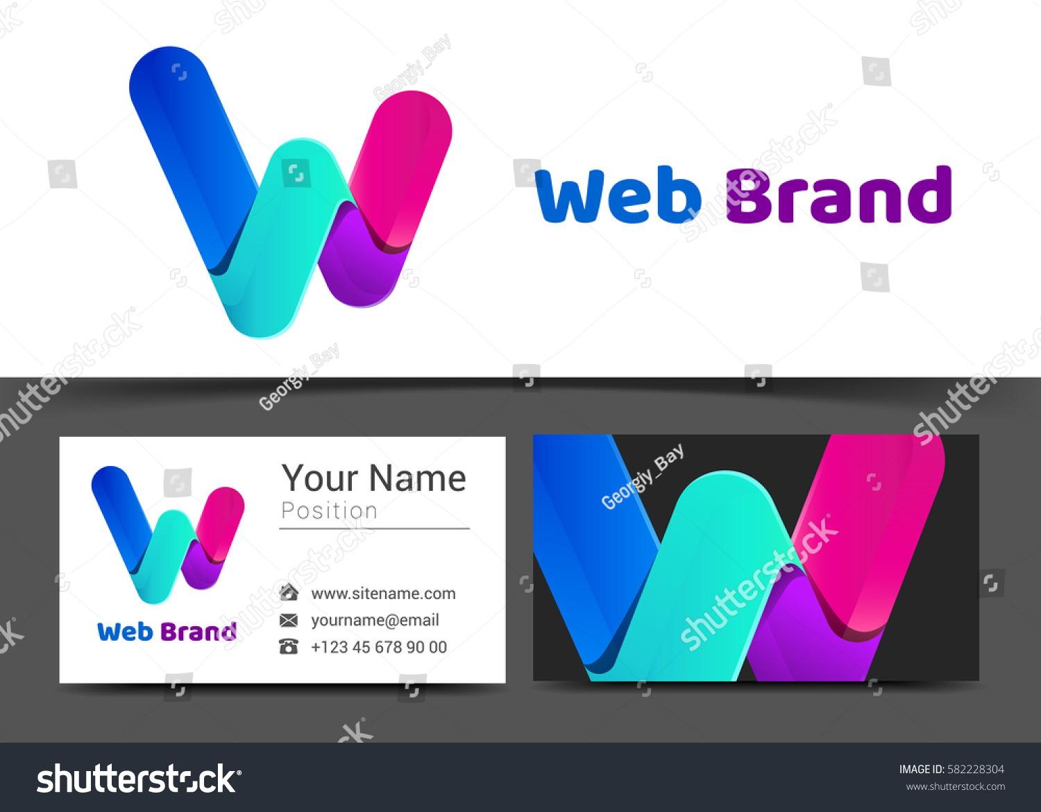 Letter w corporate logo business card stock vector 582228304 letter w corporate logo and business card sign template creative design with colorful logotype business magicingreecefo Images