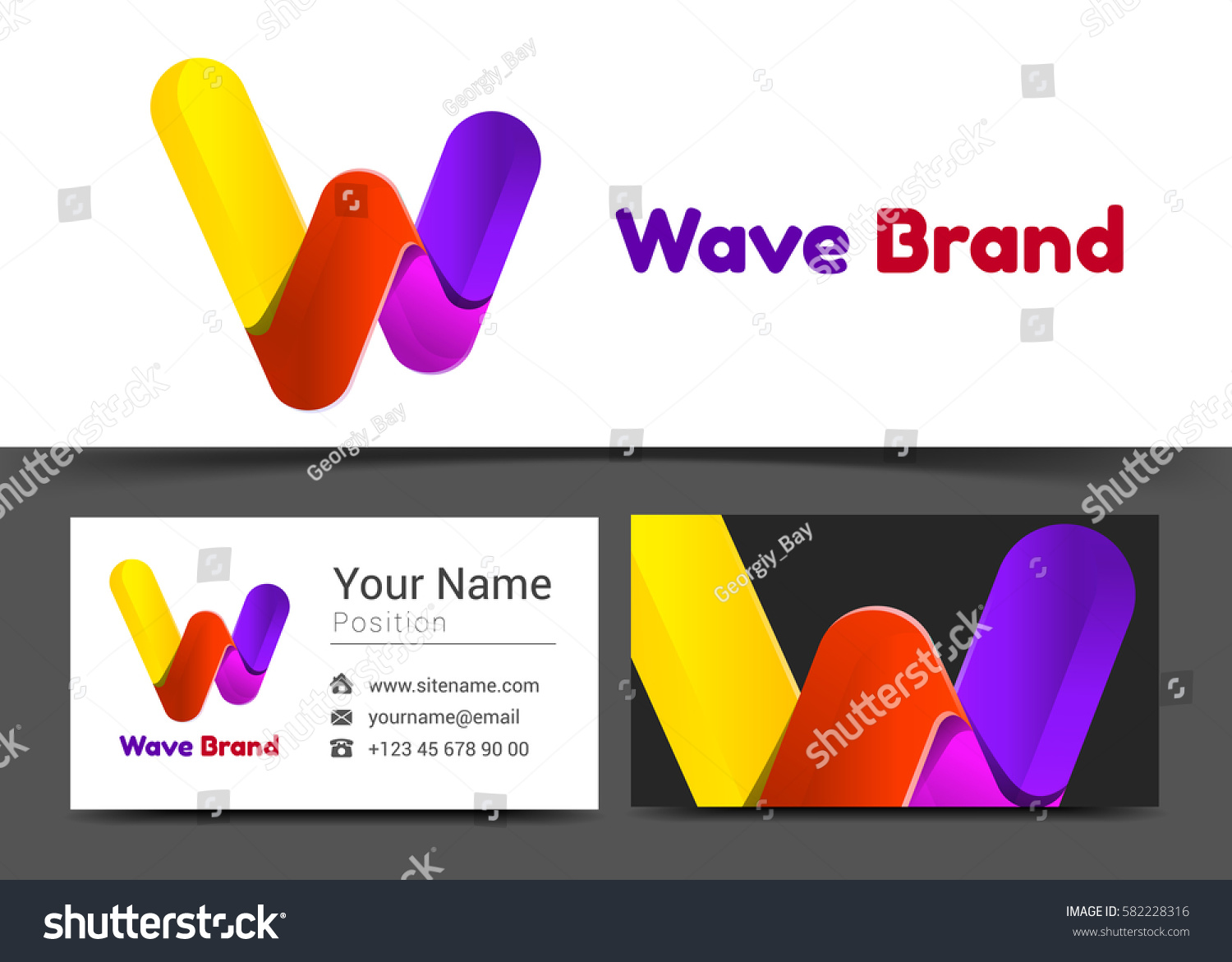 Letter W Corporate Logo Business Card Stock Vector 582228316 ...