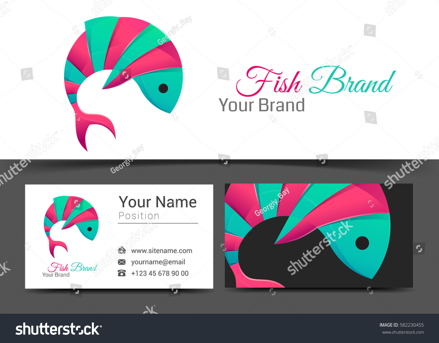 Fish corporate logo business card sign stock vector 582230455 fish corporate logo and business card sign template creative design with colorful logotype business visual magicingreecefo Images