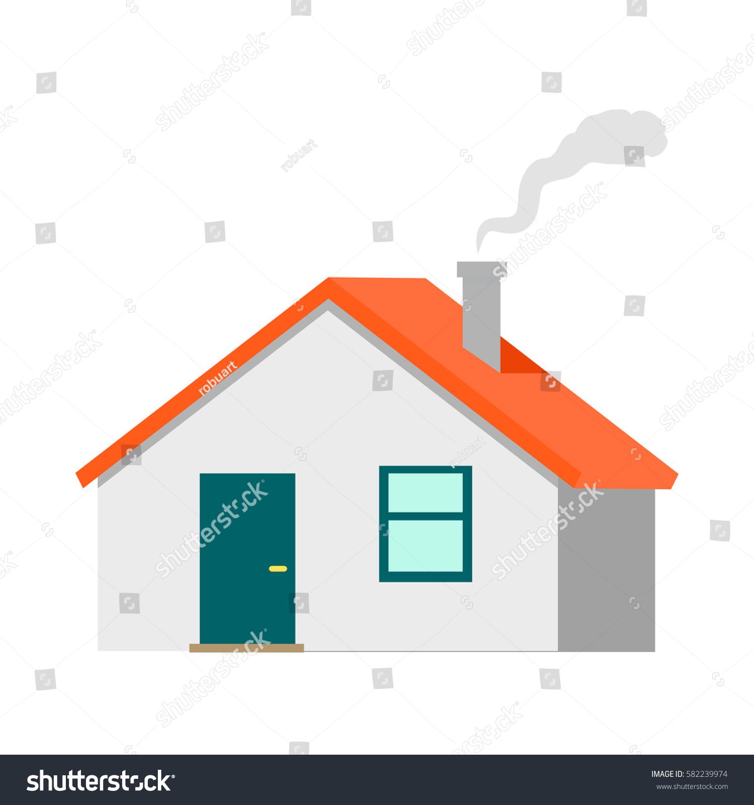 House Illustration Flat Design Cottage Red Stock Illustration ...