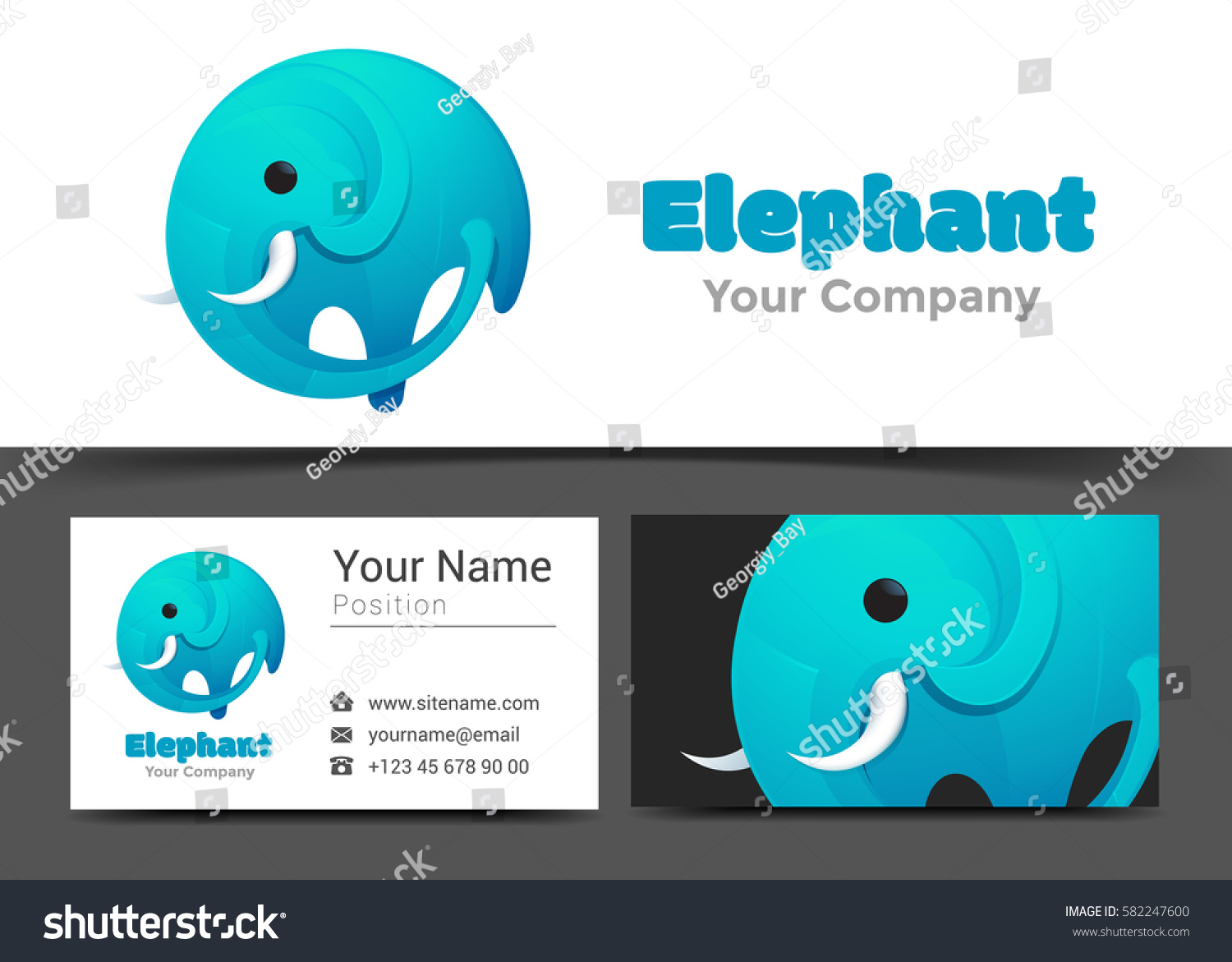 Modern elephant corporate logo business card stock vector modern elephant corporate logo and business card sign template creative design with colorful logotype visual magicingreecefo Images