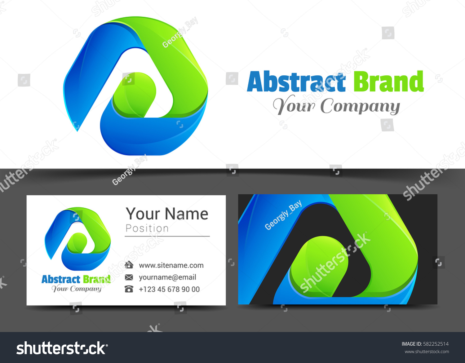 Abstract shape corporate logo business card stock vector 582252514 abstract shape corporate logo and business card sign template creative design with colorful logotype visual magicingreecefo Images