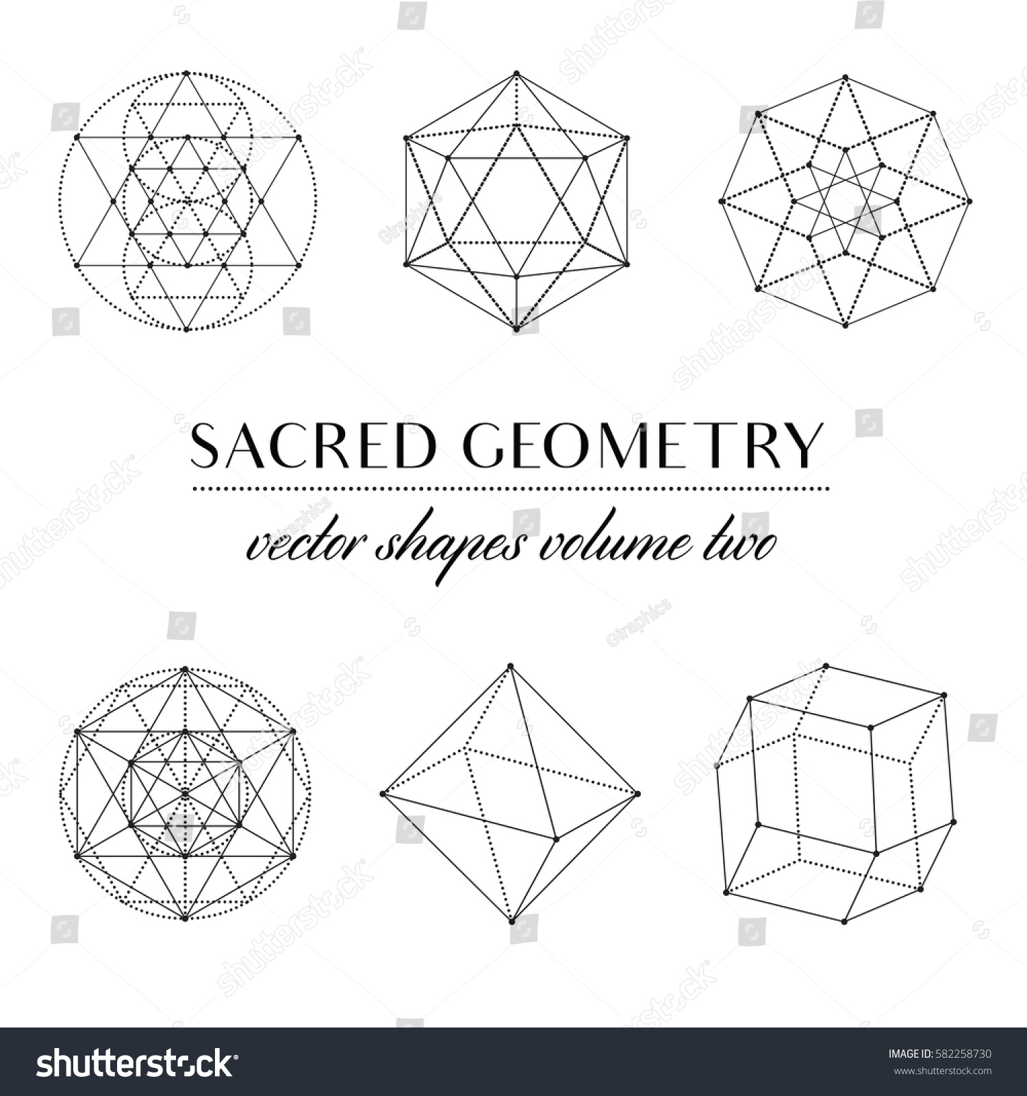 Captivating Sacred Geometry Volume Two   Set Of Sacred Geometry Art. Geometric Vector  Art