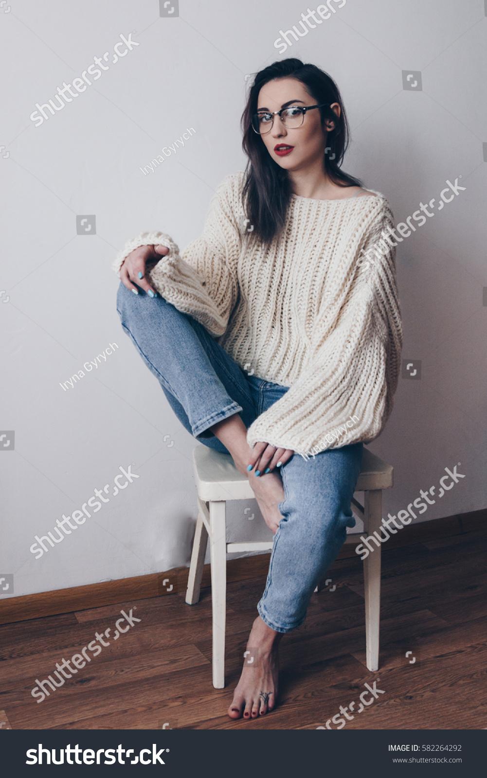 Portrait Young Woman Stylish Oversized Sweater Stock Photo ...