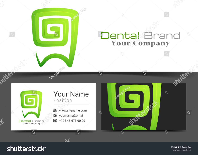 Dental Clinic Corporate Logo Business Card Stock Vector 582273028 ...