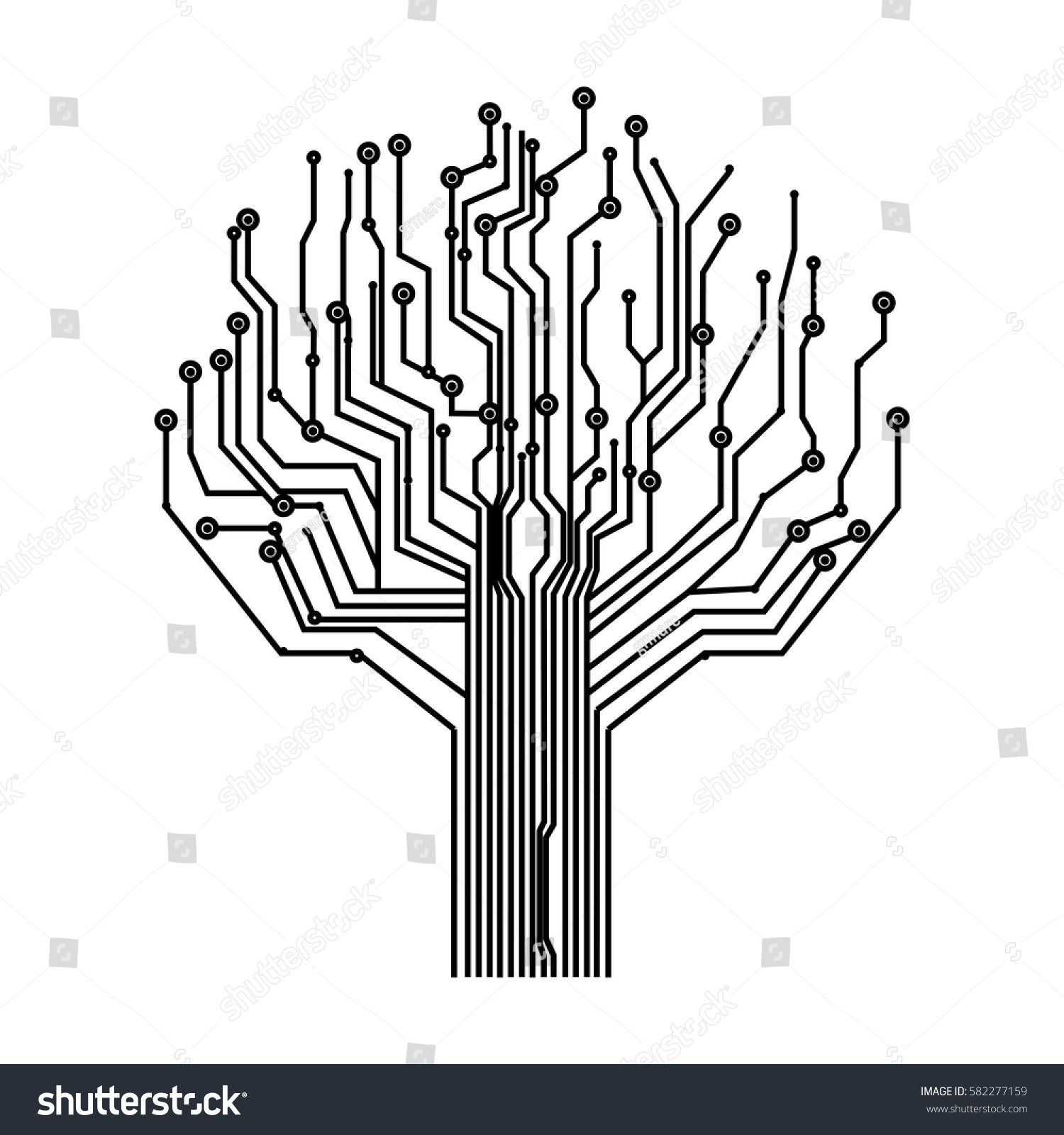 Silhouette Circuit Board Tree Background Vector Stock Vector ...
