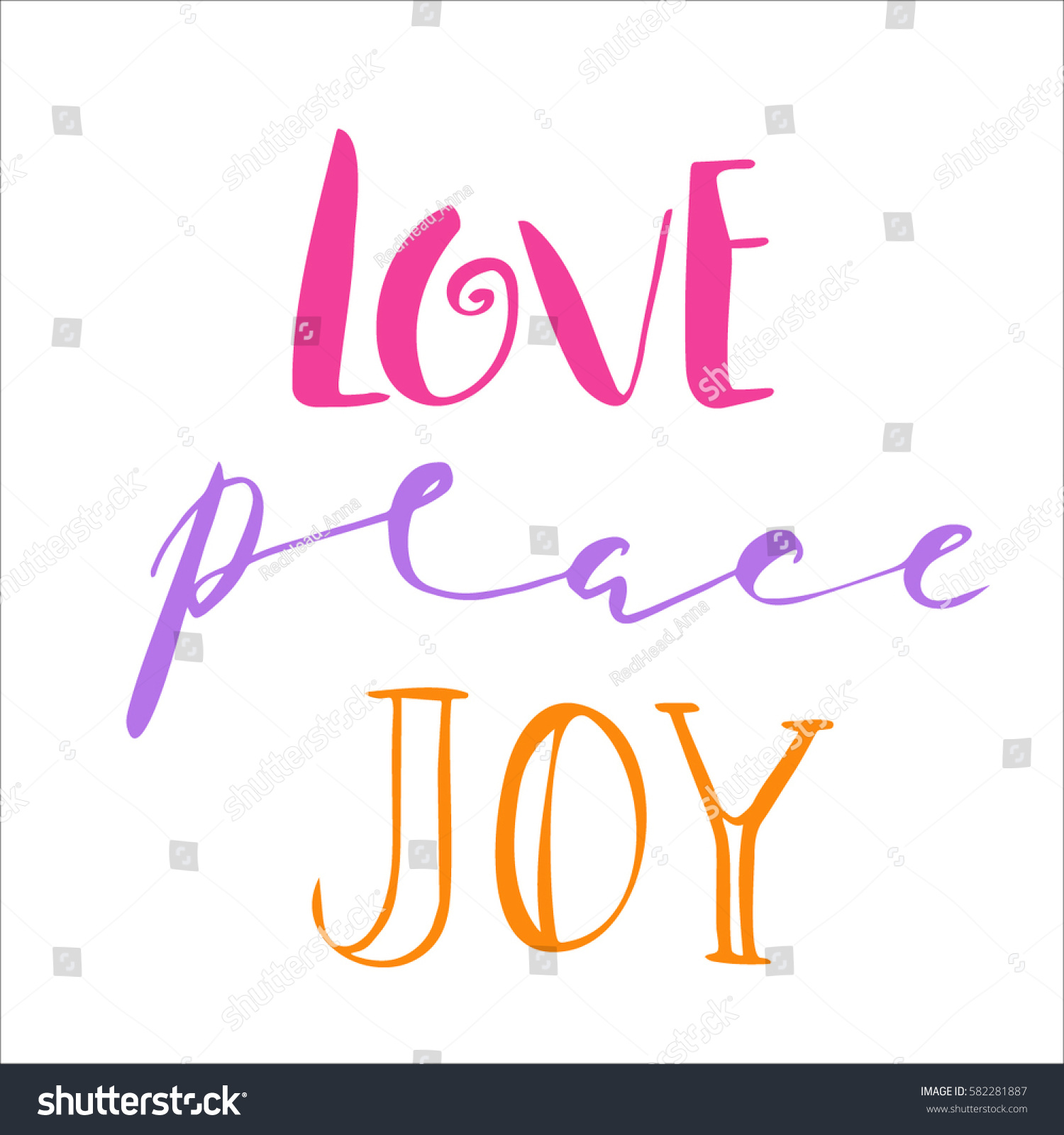 Peace Love Joy Quotes Love Peace Joy Quotestexthand Drawn Brush Stock Vector 582281887