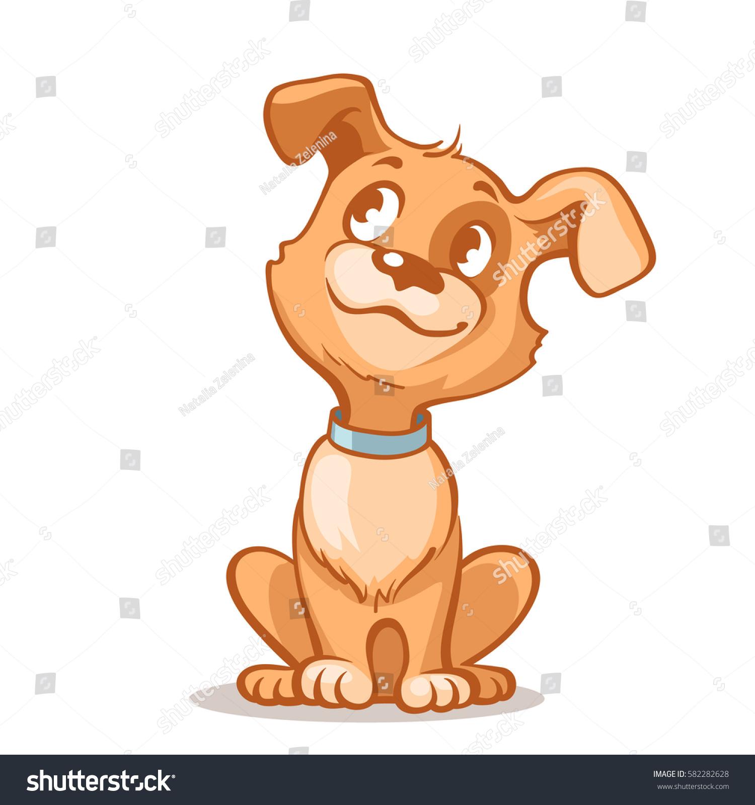 Happy Cartoon Puppy Sitting Portrait Cute Stock Vector