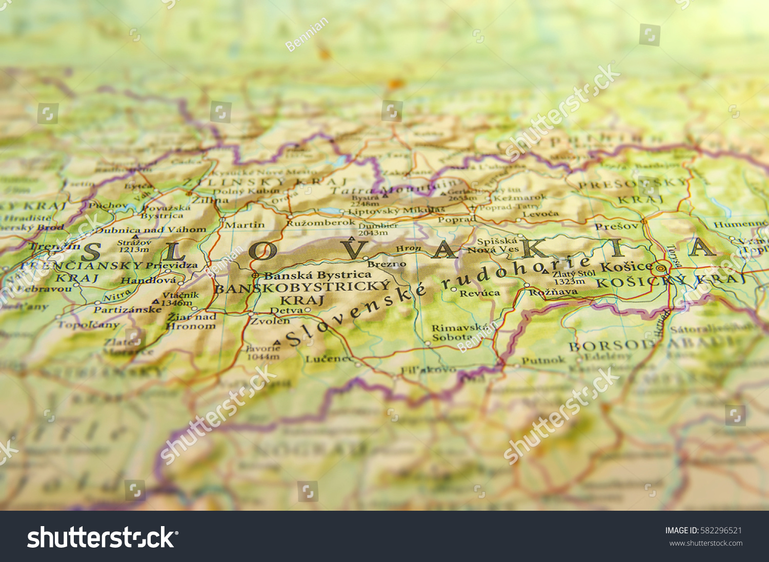 Geographic Map European Country Slovakia Important Stock