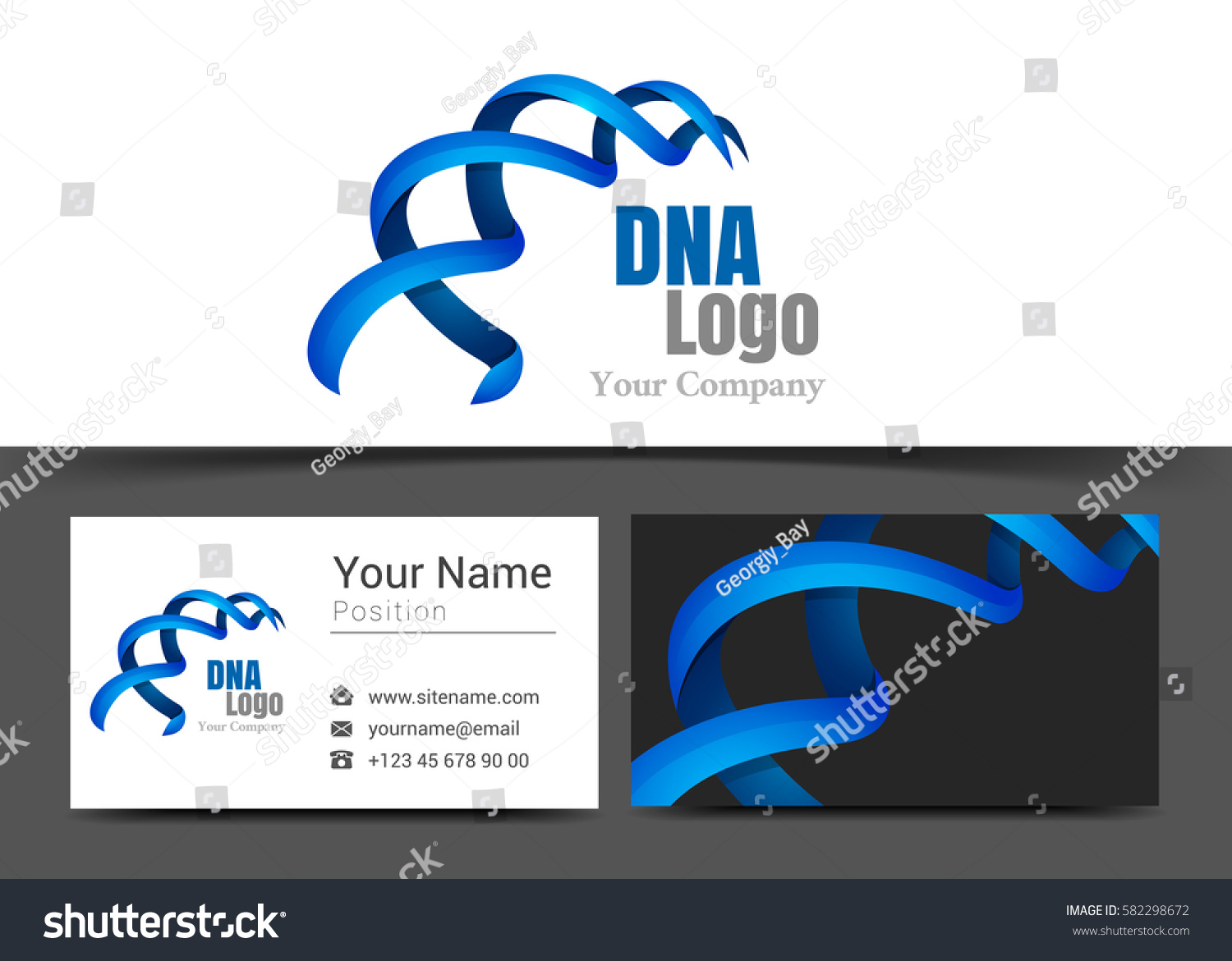 Blue Dna Corporate Logo Business Card Stock Vector HD (Royalty Free ...