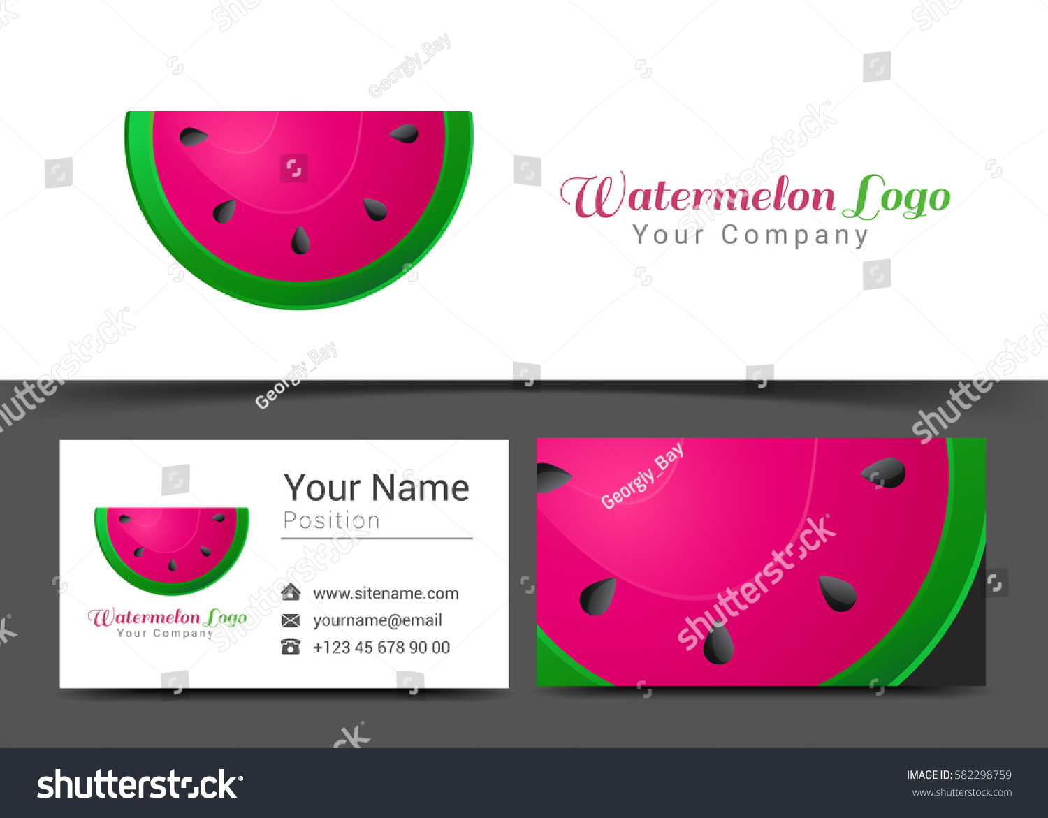 Watermelon corporate logo business card sign stock vector watermelon corporate logo and business card sign template creative design with colorful logotype visual identity magicingreecefo Images