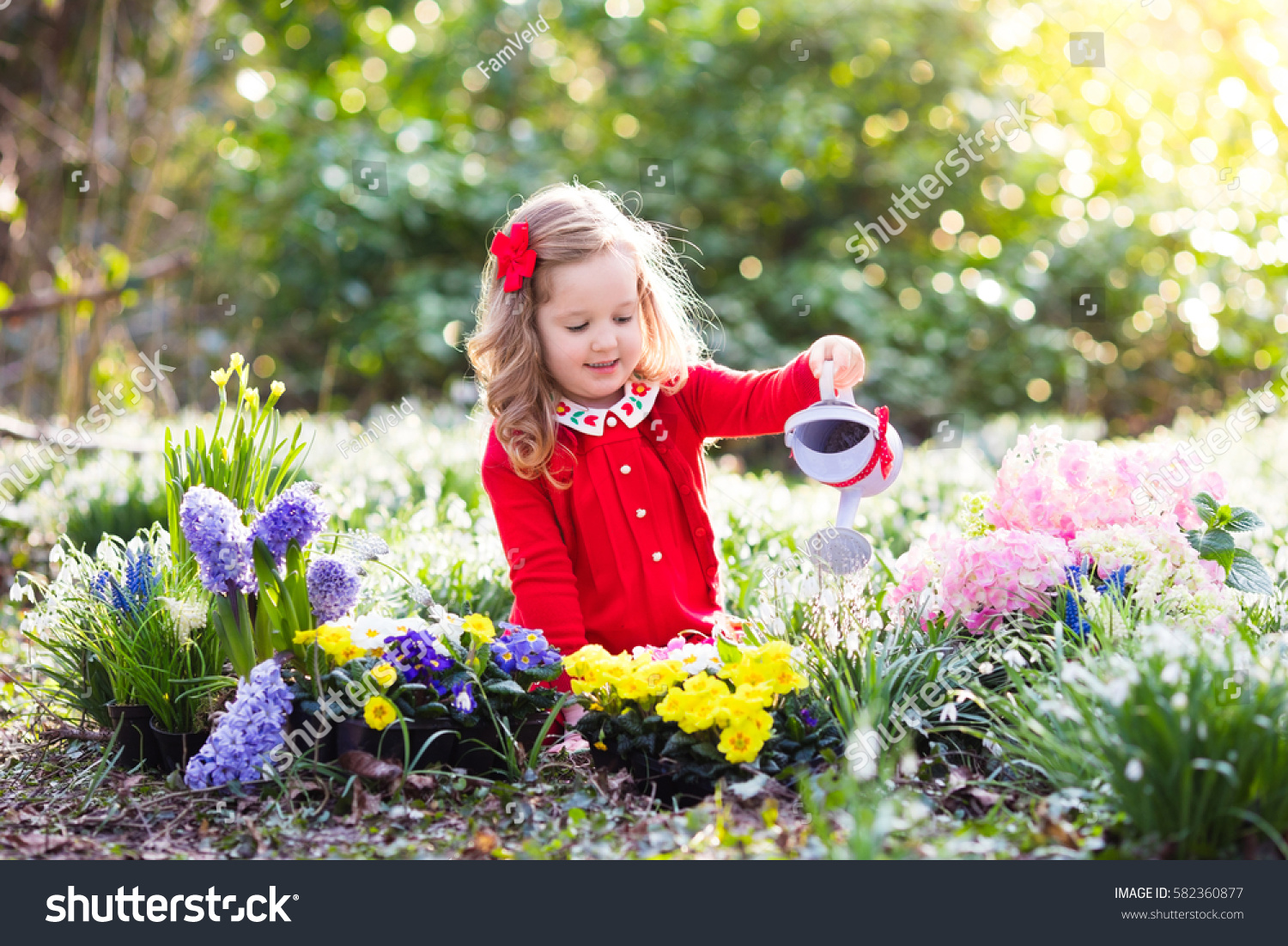 Child Planting Spring Flowers Garden Little Stock Photo Edit Now