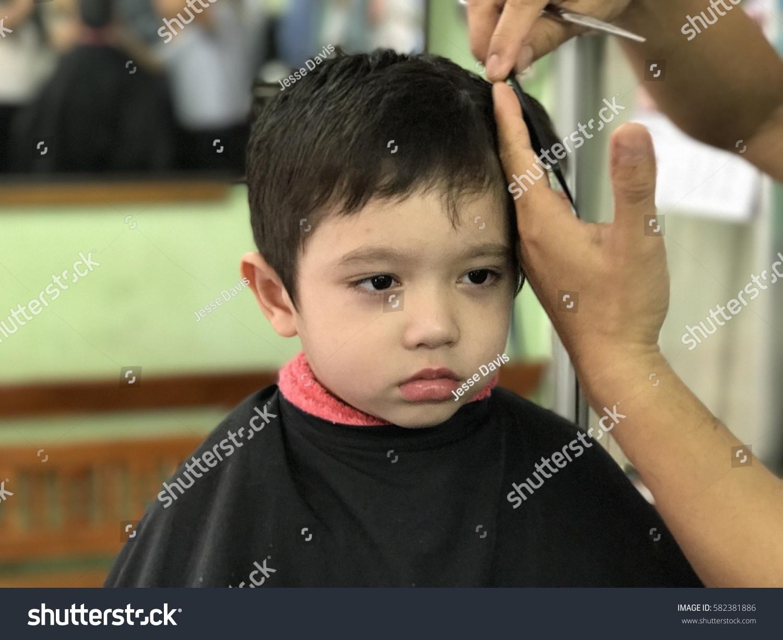 Cute Little Asian Boy Getting Haircut Stock Photo Edit Now