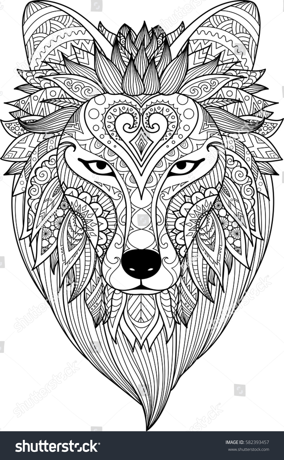 Zendoodle Stylize Dire Wolf Design Tattoo Stock Vektor
