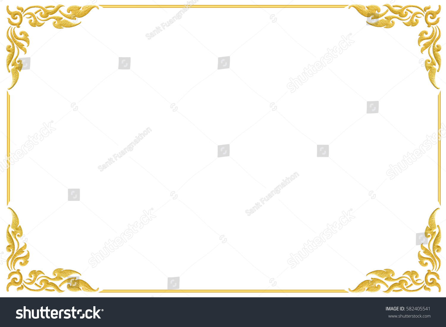7fc6716cc9e Art frame corner golden design isolated on white background. This has  clipping path.