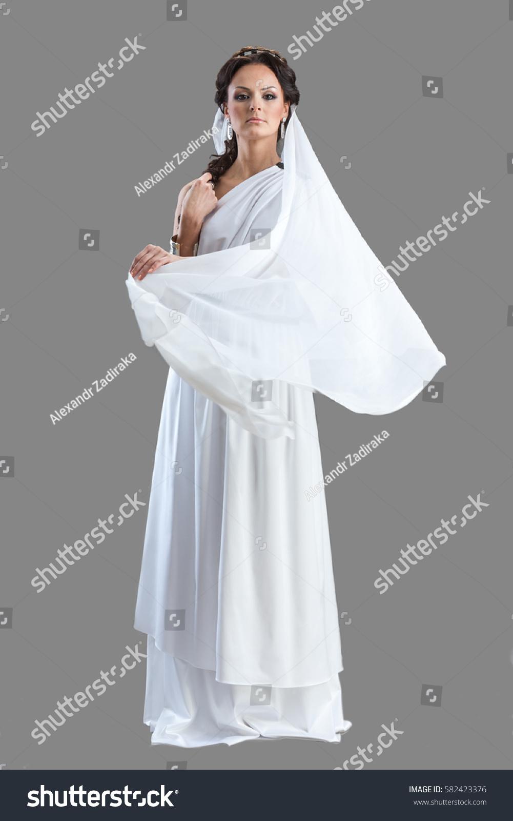 Portrait Woman White Dress Ancient Greek Stock Photo (Royalty Free ...