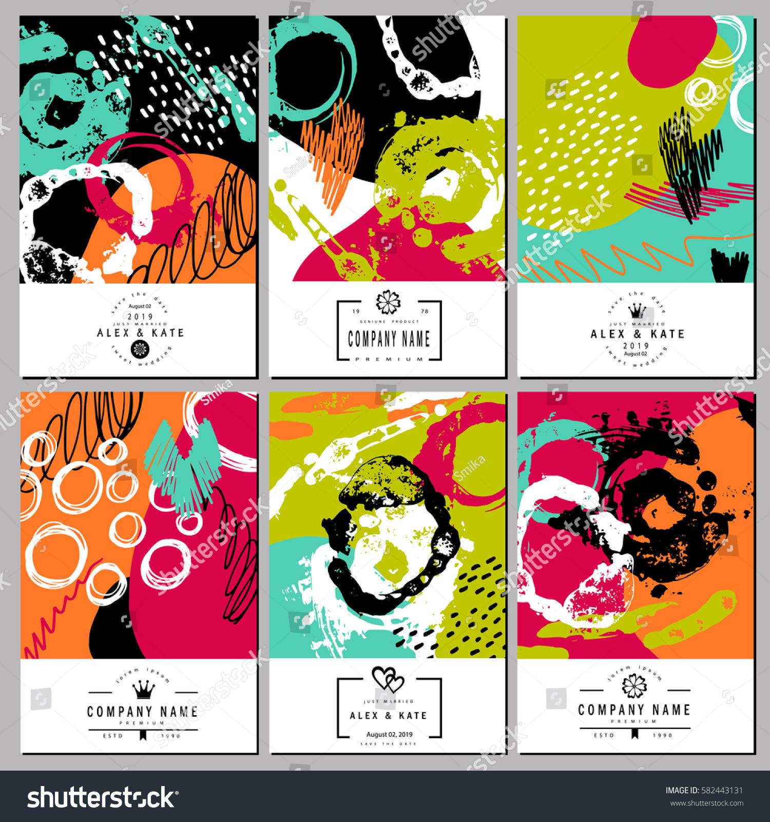 set creative business card template wedding stock vector