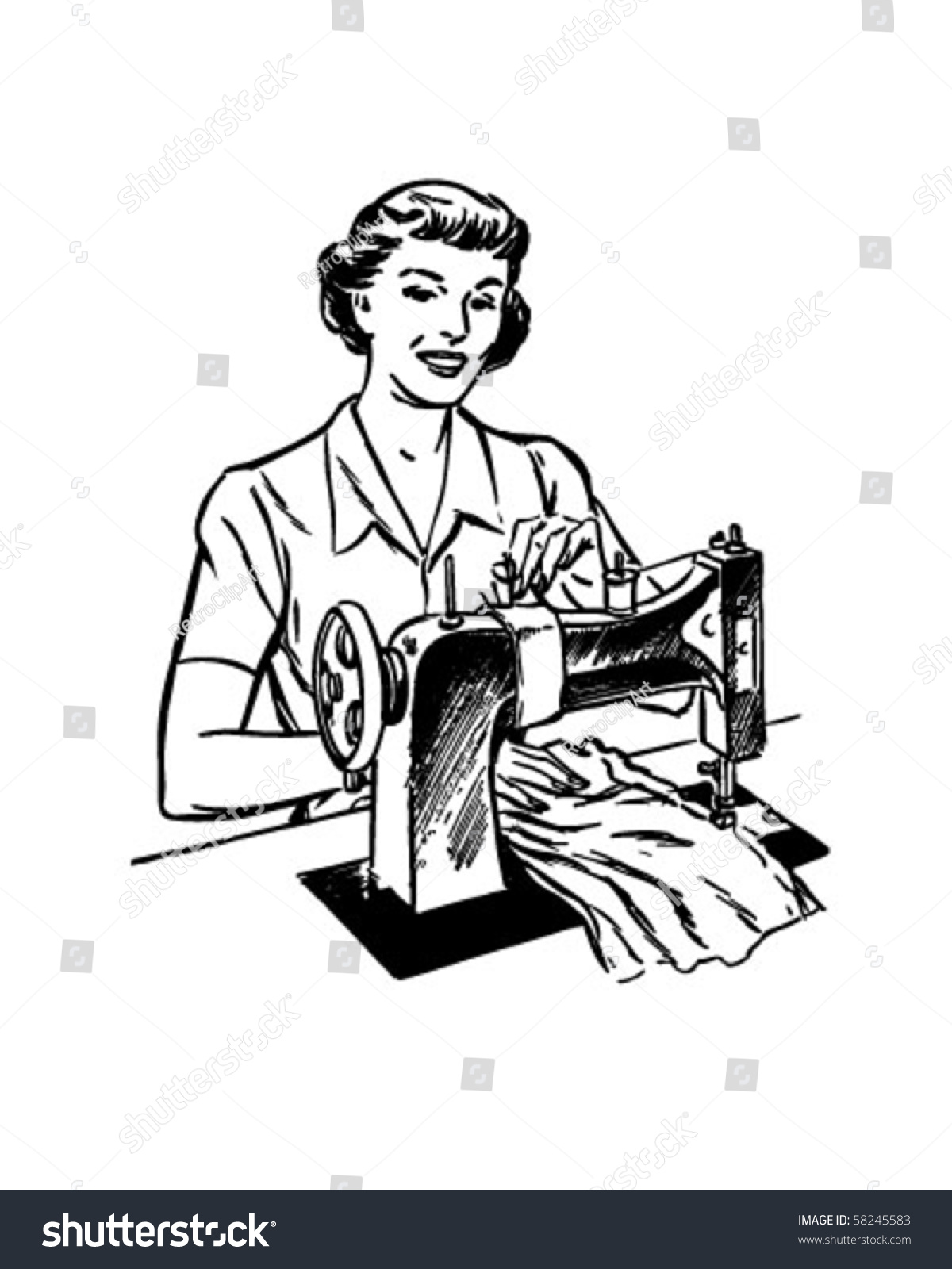 Lady Sewing Retro Clip Art Stock Vector 58245583 - Shutterstock