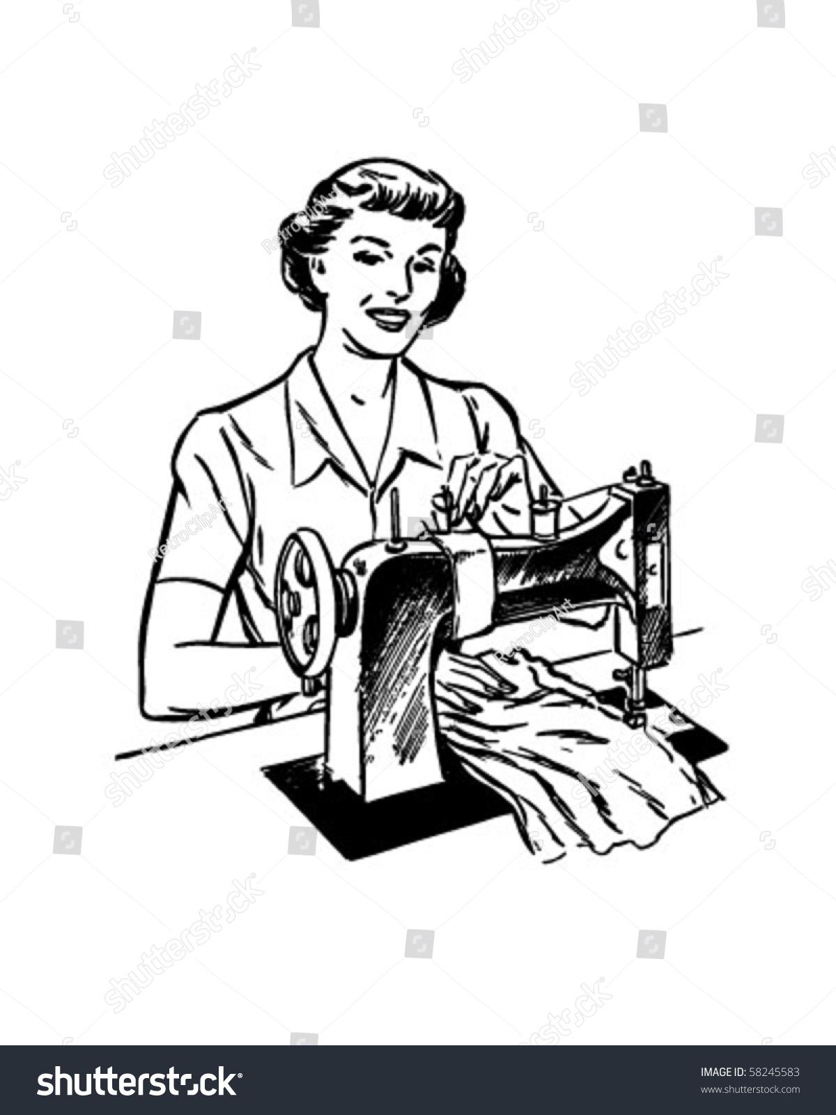 Lady Sewing Retro Clip Art Stock Vector 58245583 - Shutterstock