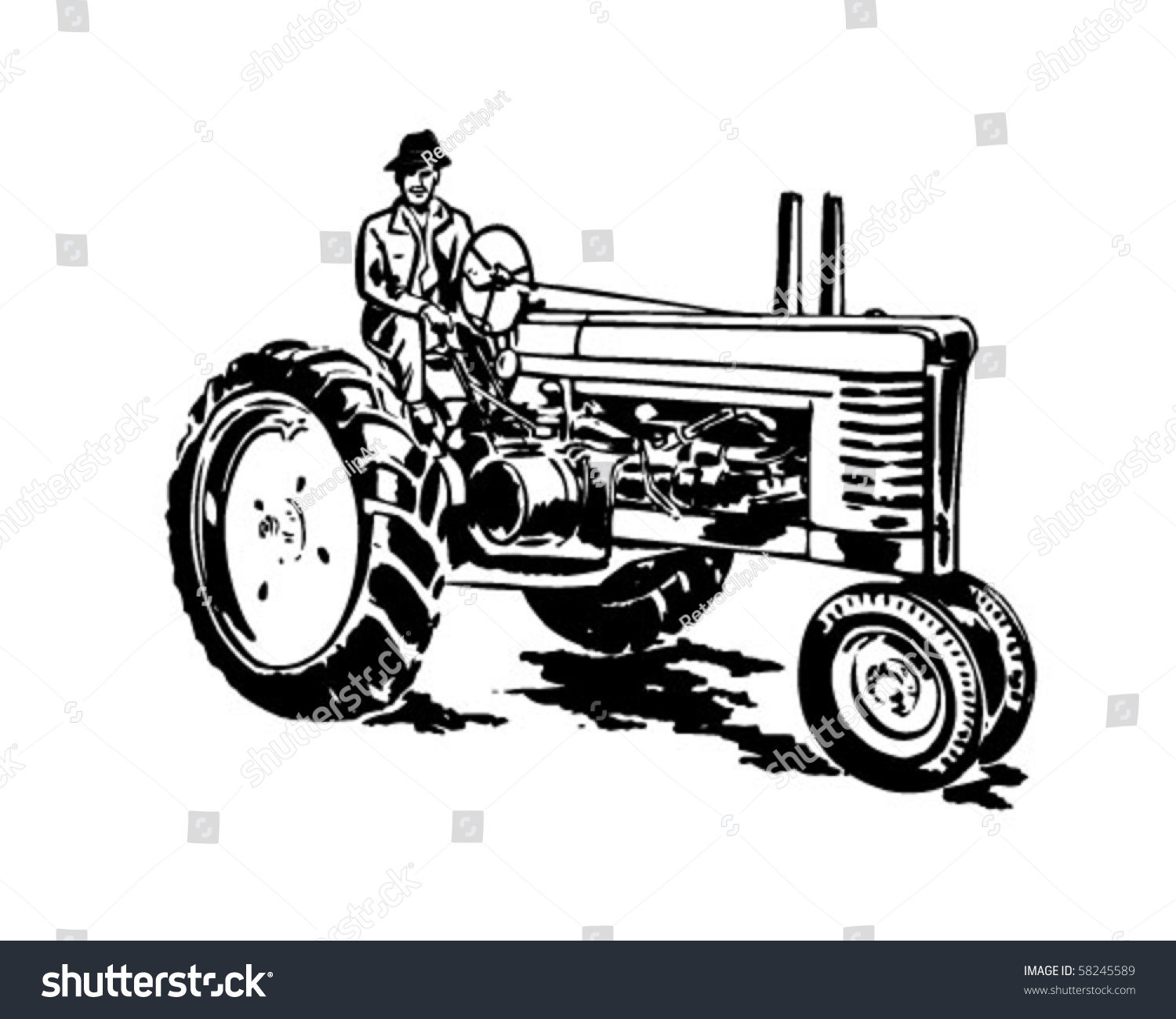 vintage tractor clipart - photo #42
