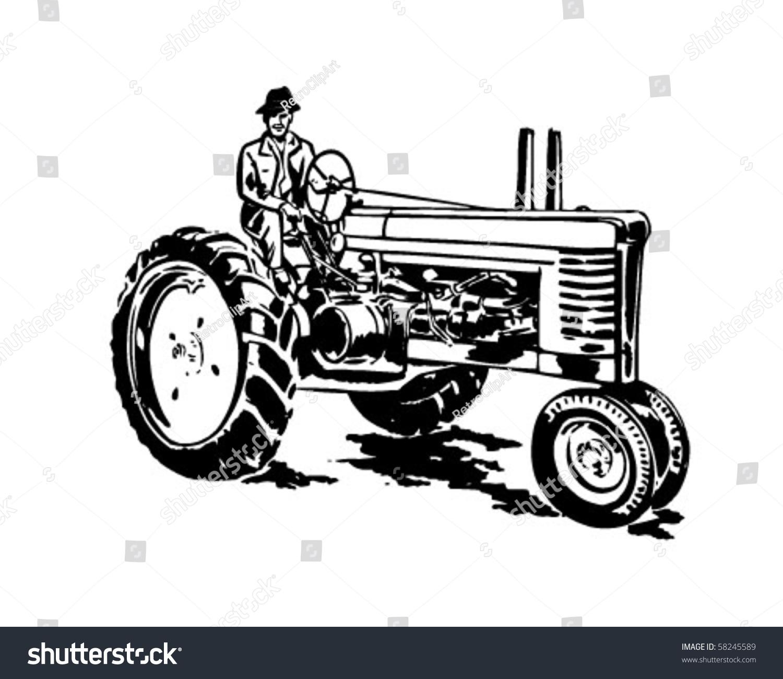 Vintage Tractor Cartoon : Farmer on tractor retro clip art stock vector