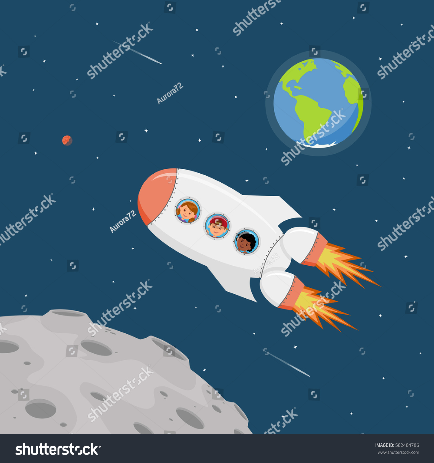 Travel on space ship astronauts children stock vector for Outer space travel