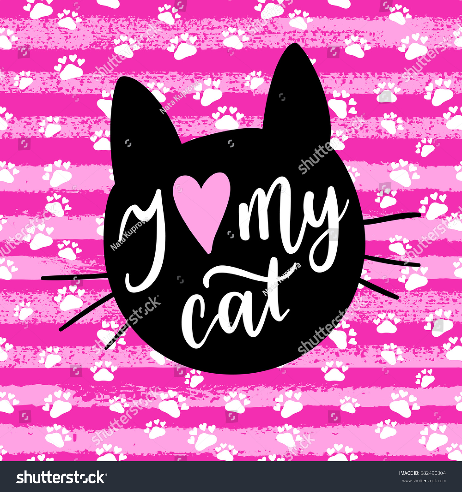 Love My Cat Fashion Graphic Print Stock Vector 582490804 Shutterstock