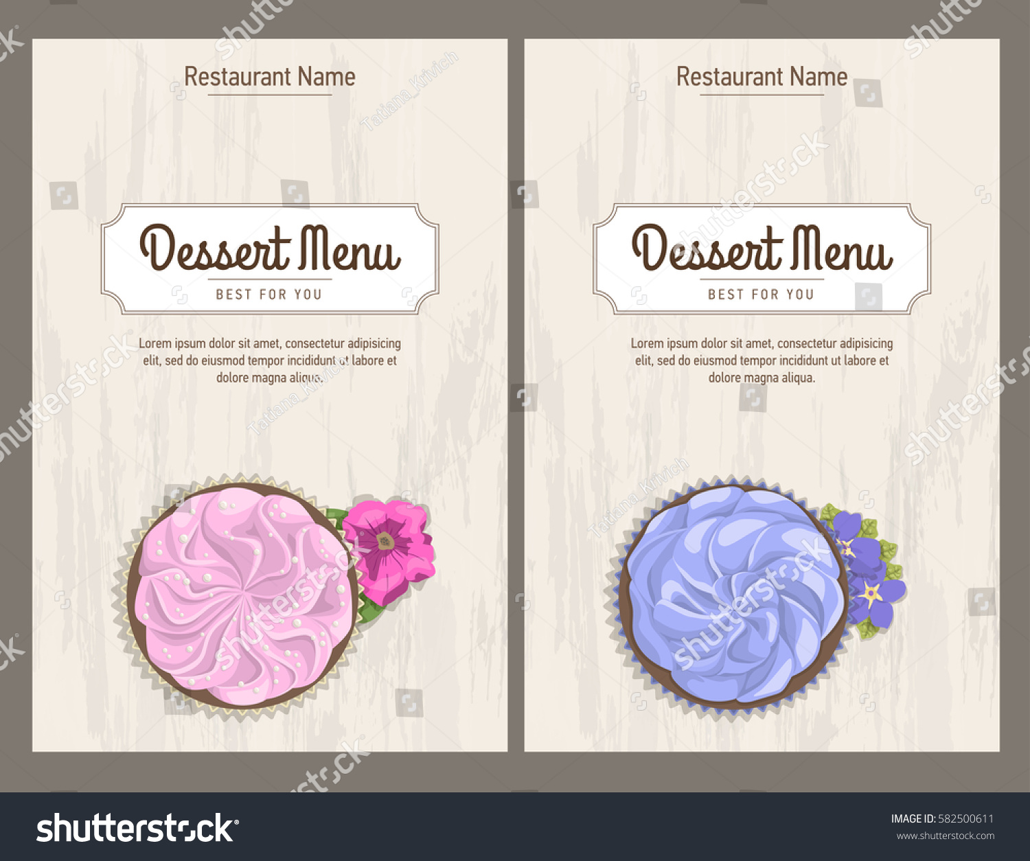 Set vintage restaurant menu design business stock vector 582500611 set vintage restaurant menu design business card templates cake with flower on wooden light background magicingreecefo Image collections