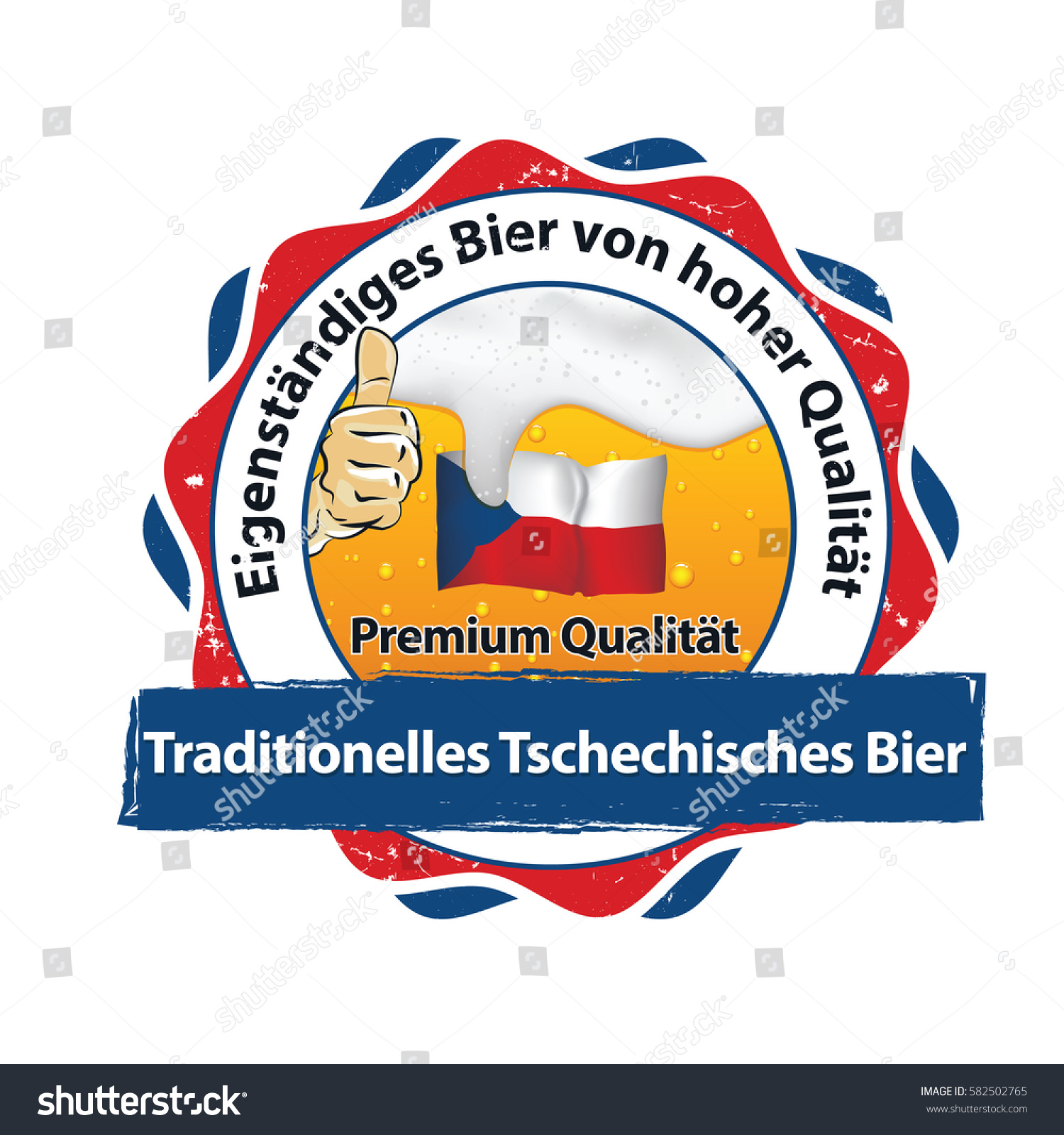traditional beer form czech rep high stock vector 582502765