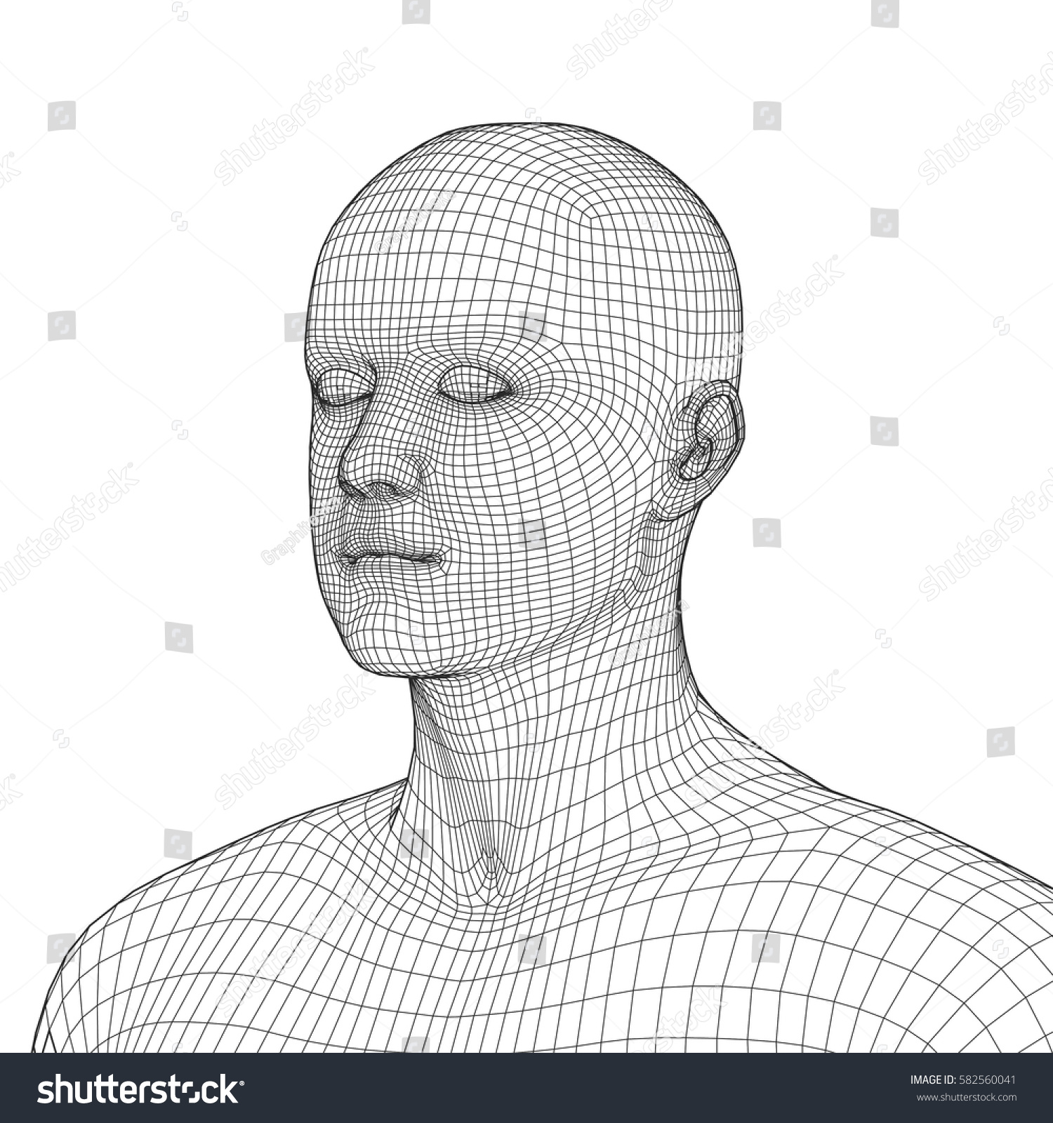 Young Man Face Portrait 3 D Wireframe Stock Vector 582560041 ...