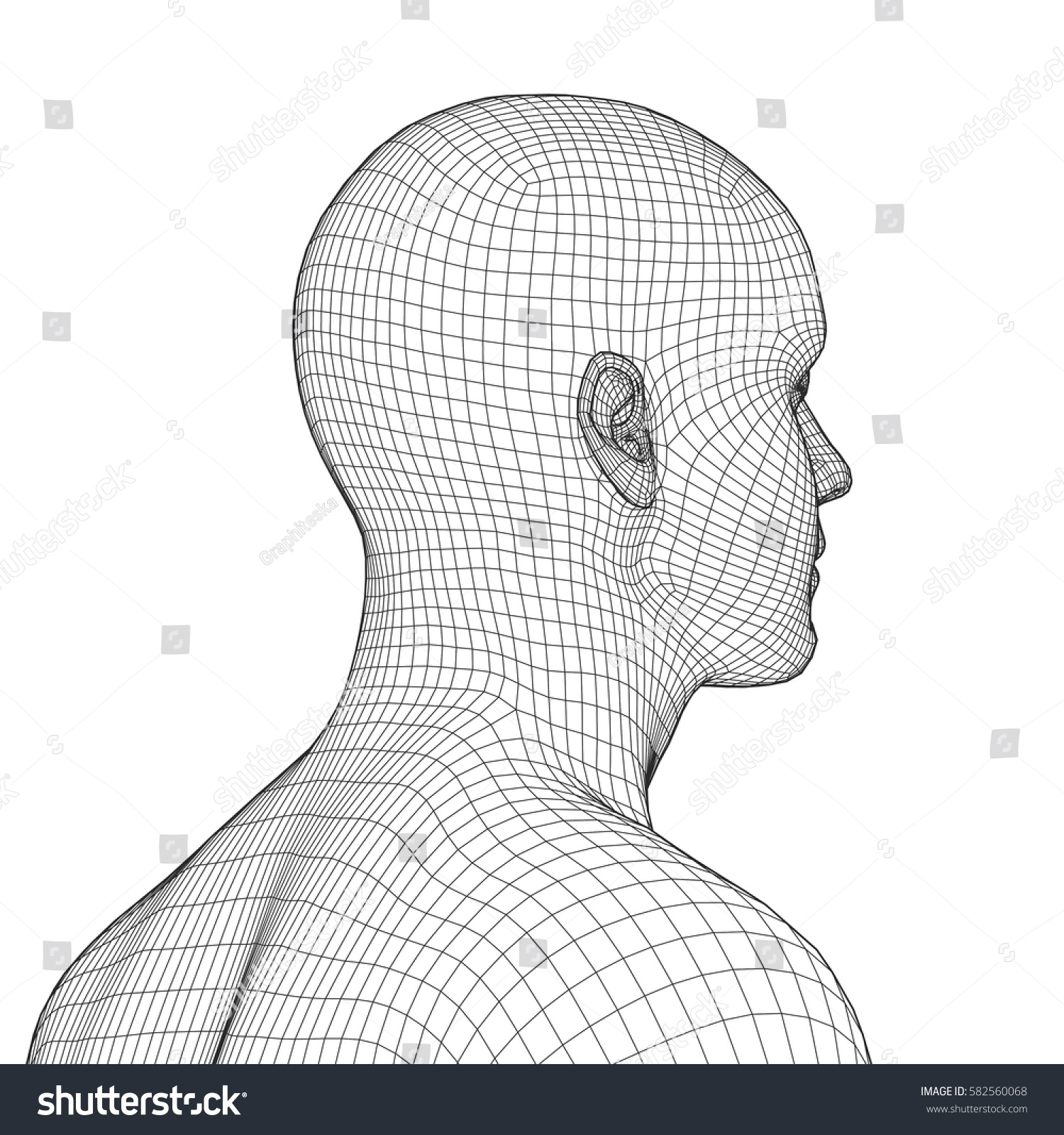 Young Man Face Portrait 3 D Wireframe Stock Vector (2018) 582560068 ...