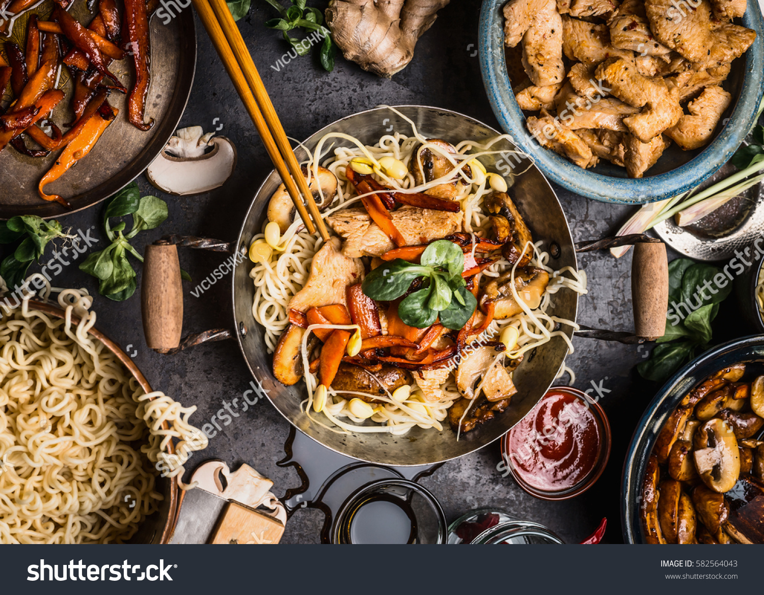 Asian Kitchen Table Food Bowls Wok Stock Photo 582564043