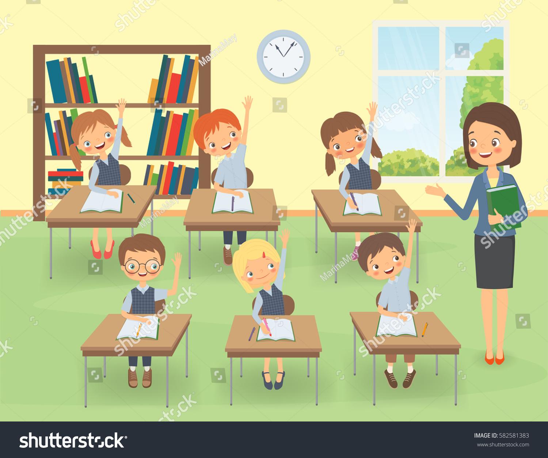 teacher pupils classroom lesson cartoon vector stock