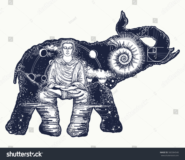 Elephant Tattoo Art Symbol Spirituality Meditation Stock Vector