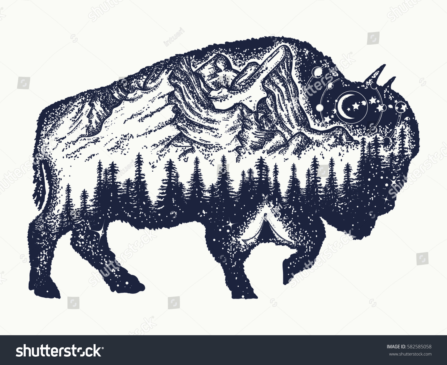 Buffalo Tribal Tattoo Designs