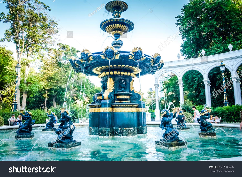 Water outdoor fountains park garden fountains in romantic baku city romantic cities background