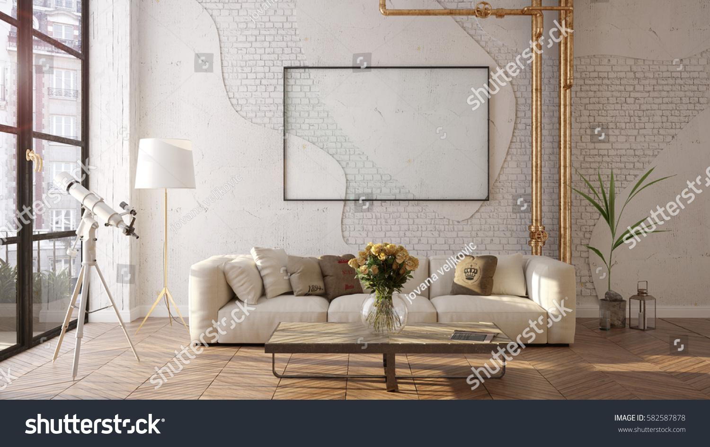 Modern Sofa Loft Living Room 3 Stock Illustration 582587878 ...