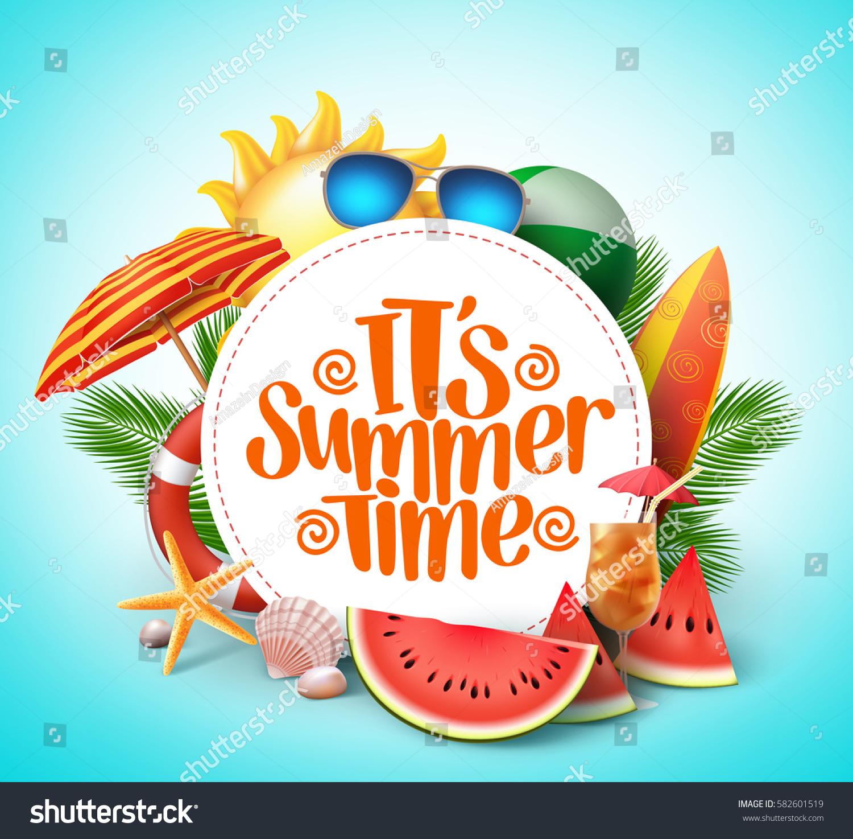 summer time vector banner design white のベクター画像素材