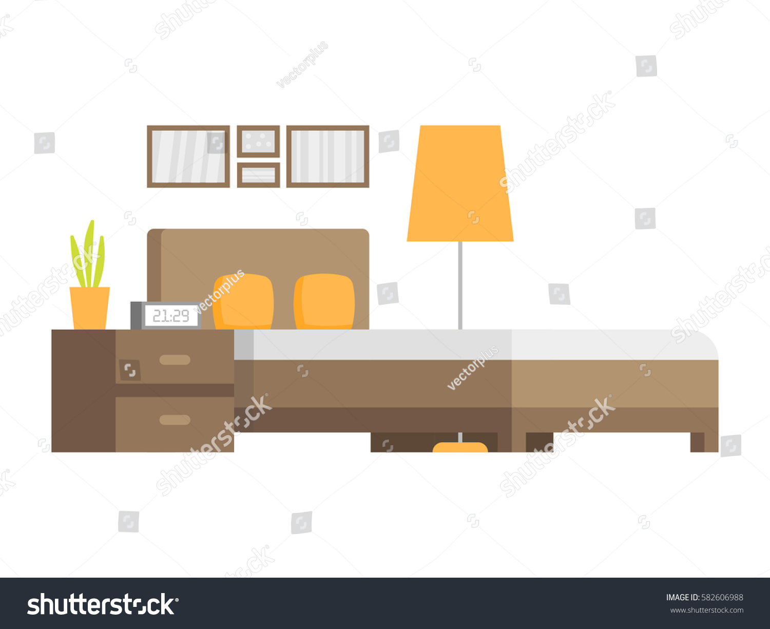 Modern bedroom interior design icon vector stock vector for Interior design images vector