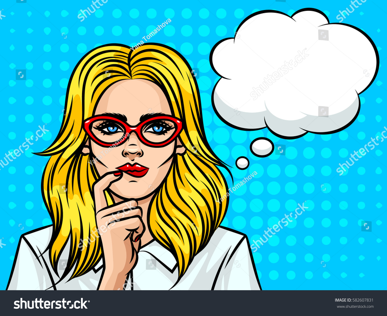 Young beautiful business woman  with speech bubble thinking about something. Girl with glasses the European type on background of pop art style