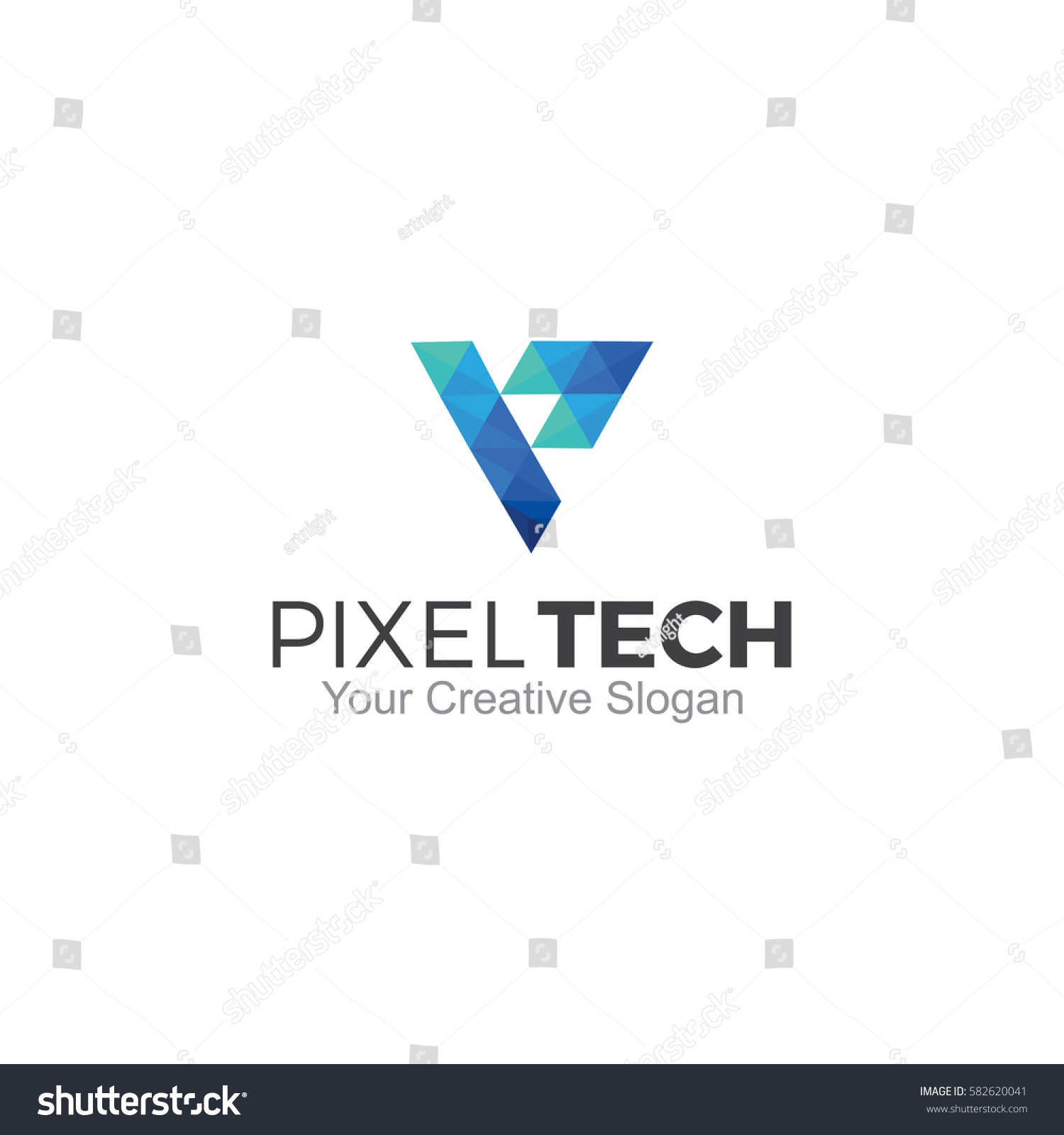pixel tech logo vector illustration stock vector royalty free