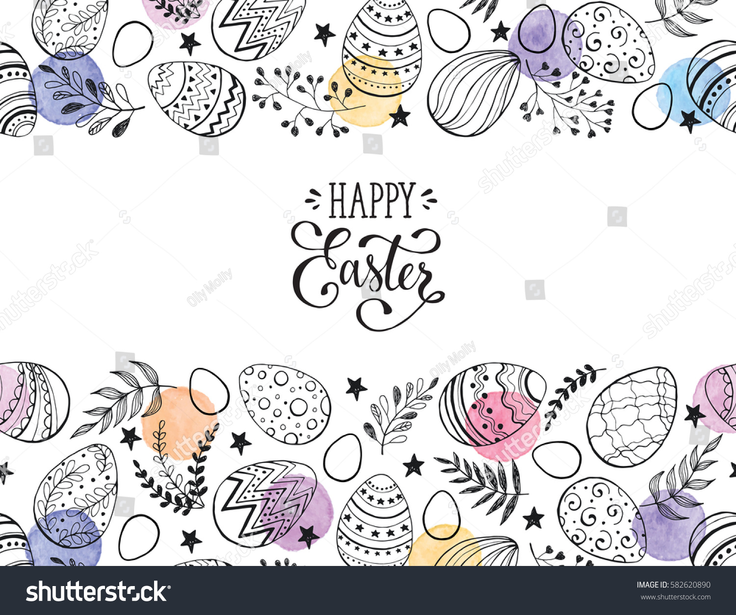 Easter eggs composition hand drawn black on white background. Decorative horizontal stripe from eggs with  leaves and watercolor dots. #582620890