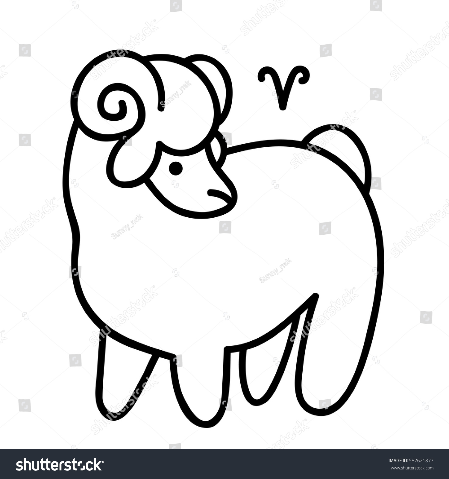 Vector Line Art Aries Zodiac Symbol Stock Vector 2018 582621877