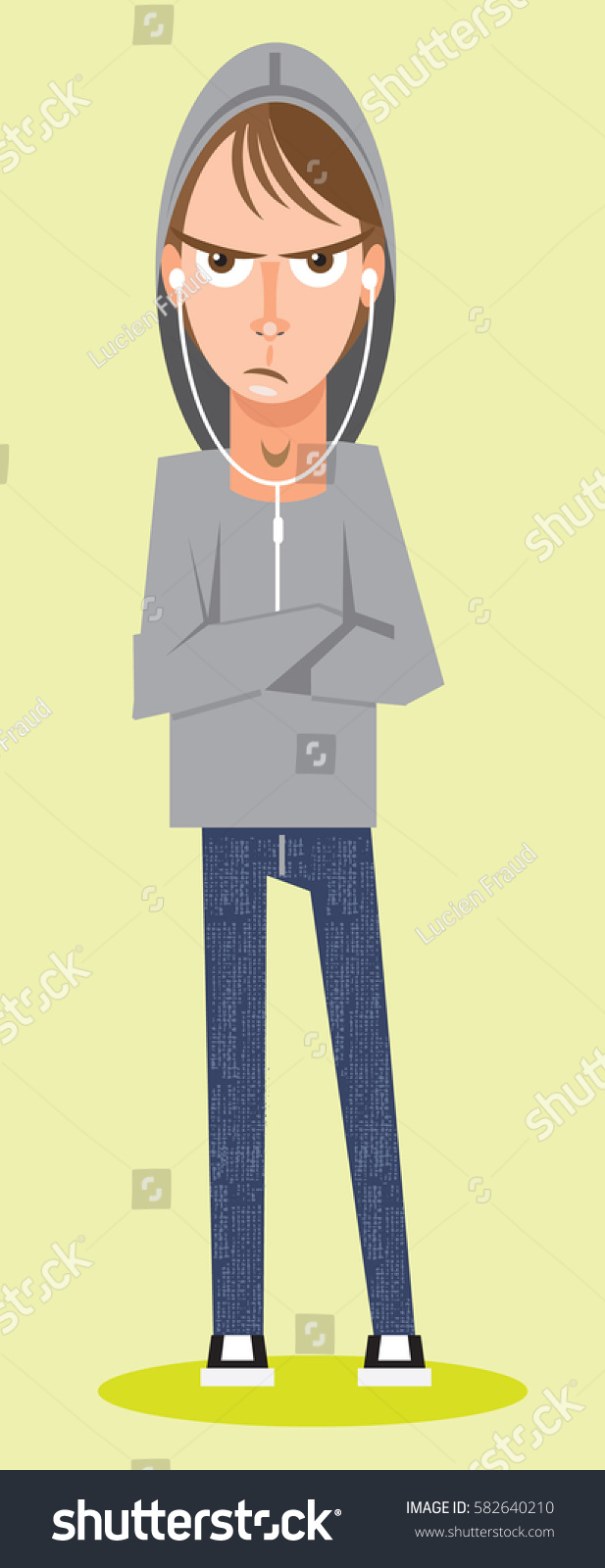portrait moody rebellious teenage boy stock vector (royalty free) 582640210  shutterstock